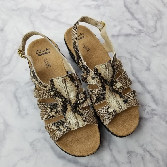 buy cheap best online free shipping Clarks Collection Soft Cushion Snake Wedge Sandals